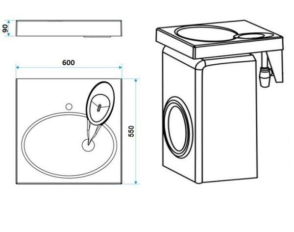 Раковина над стиральной машиной Sanrif Индиго 600х550